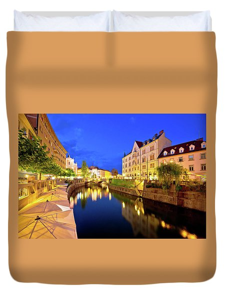 Ljubljanica River Waterfront In Ljubljana Evening View Duvet Cover by Brch Photography