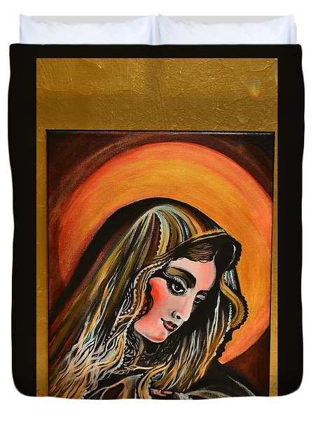 lLady of sorrows Duvet Cover by Sandro Ramani