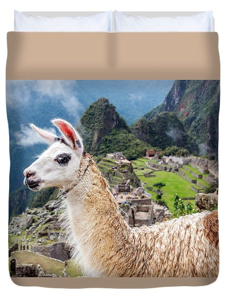 Llama At Machu Picchu Duvet Cover