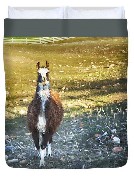 Llama Cuteness Duvet Cover by Theresa Tahara