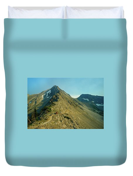 Llama Packer Hiking A Steep Rocky Mountain Peak Trail Duvet Cover by Jerry Voss