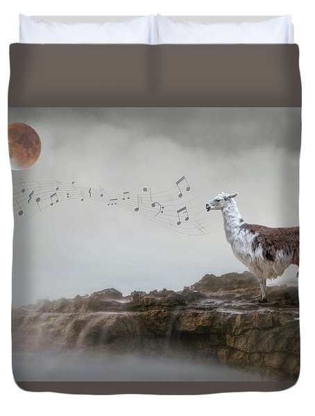 Llama Singing To The Moon Duvet Cover