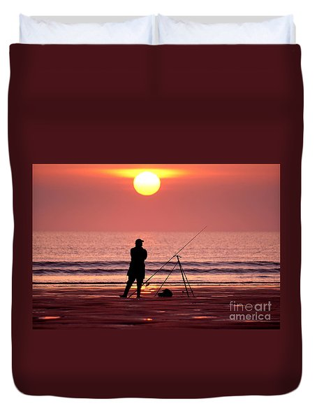 Llangennith Fishing At Sundown Duvet Cover
