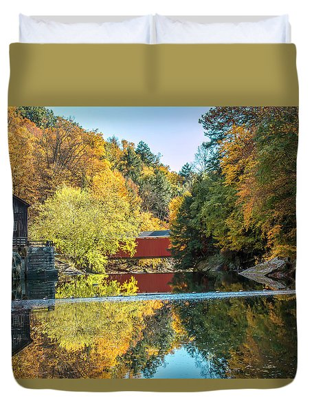 Duvet Cover featuring the photograph Mcconnell's Mill And Covered Bridge by Skip Tribby