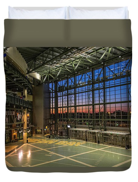 Duvet Cover featuring the photograph Lambeau Field Atrium Sunset by Joel Witmeyer