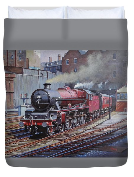 Duvet Cover featuring the painting Lms Jubilee At New Street. by Mike  Jeffries