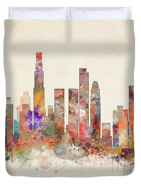 Loa Angeles Skyline Duvet Cover