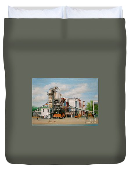 Duvet Cover featuring the painting Load  The Big Orange Truck by Oz Freedgood