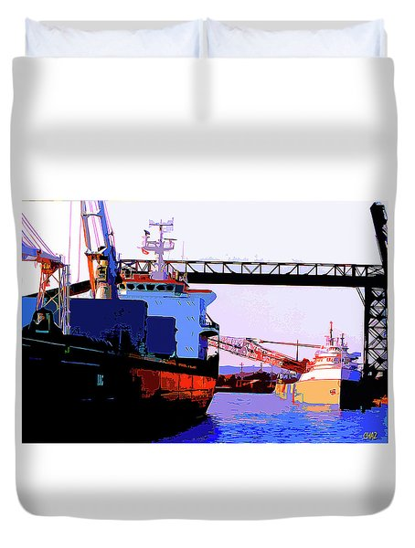 Loading The Iron Ore On The Great Lakes Freighters Duvet Cover