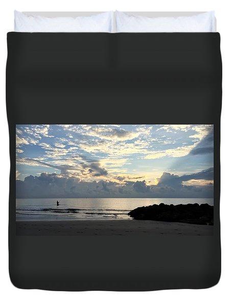 Lone Fishing Duvet Cover