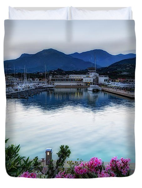 Loano Sunset Over Sea And Mountains With Flowers Duvet Cover