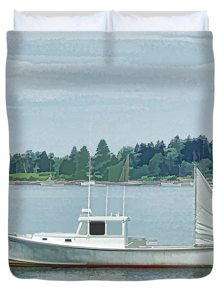 Lobster Boat Harpswell Maine Duvet Cover by Patrick Fennell