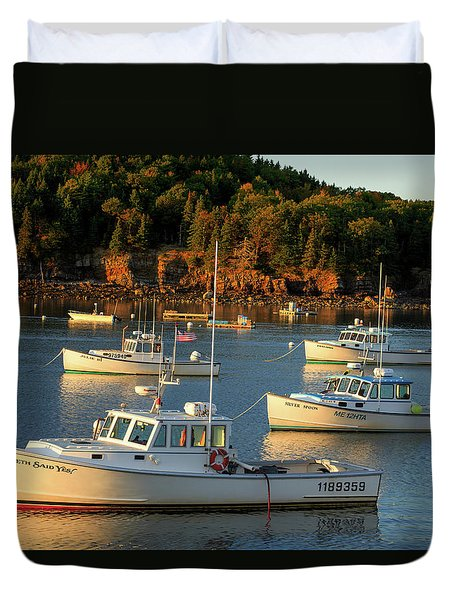 Duvet Cover featuring the photograph Lobster Boats At Bar Harbor Me  by Emmanuel Panagiotakis