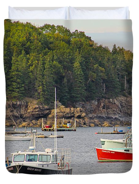Lobster Boats In Bar Harbor Duvet Cover