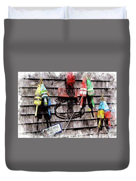 Lobster Buoys Wc Duvet Cover by Peter J Sucy