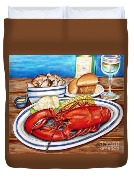 Lobster Dinner Duvet Cover by Patricia L Davidson