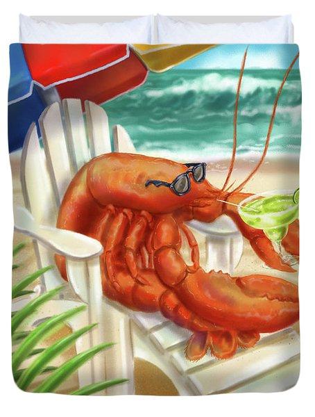 Lobster Drinking A Margarita Duvet Cover