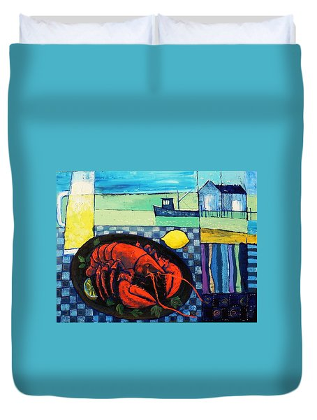 Duvet Cover featuring the painting Lobster by Mikhail Zarovny