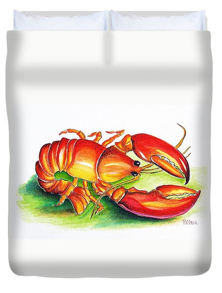 Duvet Cover featuring the painting Lobster by Patricia Piffath