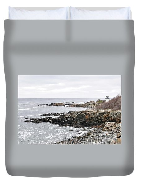 Lobster Point Lighthouse - Ogunquit Maine Duvet Cover