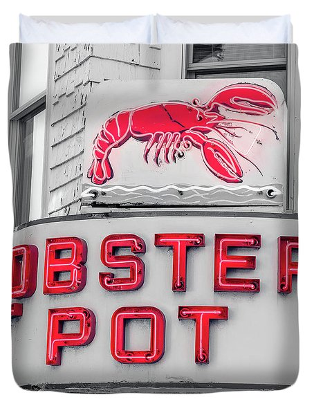 Lobster Pot Neon Provincetown Cape Cod Duvet Cover by Edward Fielding