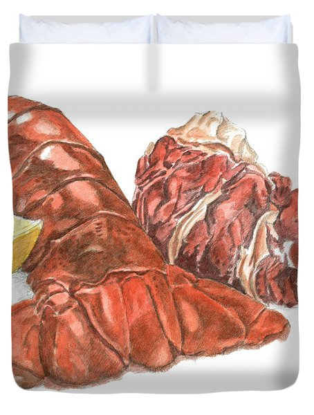 Lobster Tail And Meat Duvet Cover