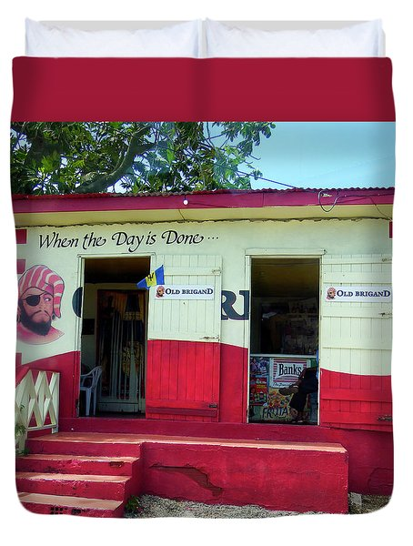 Duvet Cover featuring the photograph Local Rum Shop, Barbados by Kurt Van Wagner