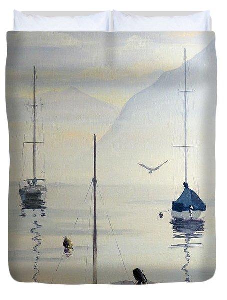 Locarno Boats In February Duvet Cover