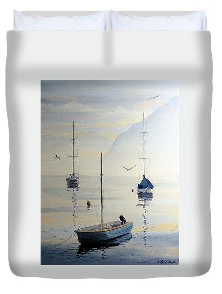 Locarno Boats In February Duvet Cover