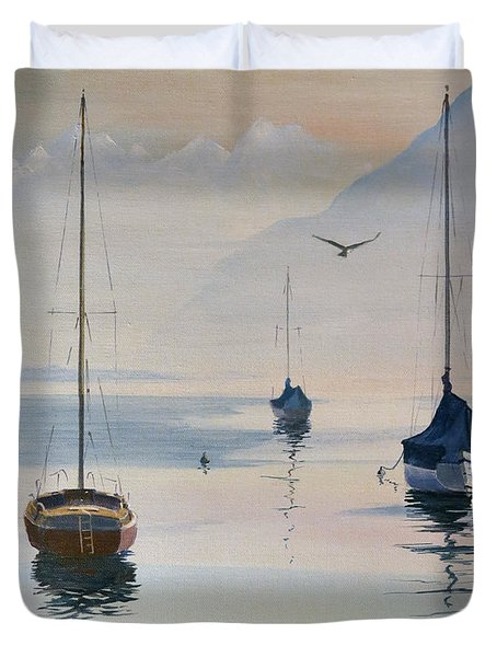 Locarno Boats In February-2 Duvet Cover