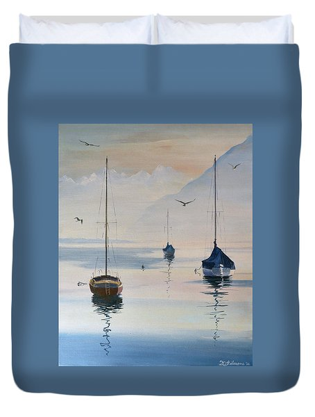 Locarno Boats In February-2 Duvet Cover