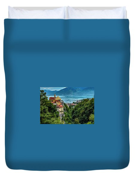 Duvet Cover featuring the photograph Locarno Overview by Alan Toepfer