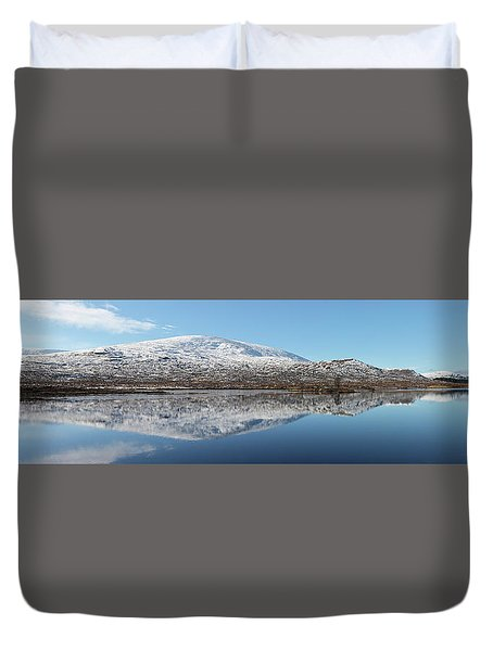 Duvet Cover featuring the photograph Loch Droma Panorama by Grant Glendinning