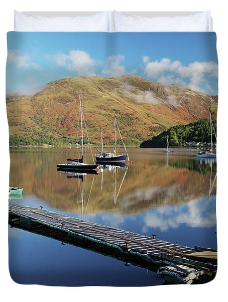 Duvet Cover featuring the photograph Loch Leven  Jetty And Boats by Grant Glendinning