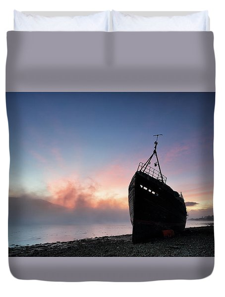 Duvet Cover featuring the photograph Loch Linnhe Misty Shipwreck by Grant Glendinning