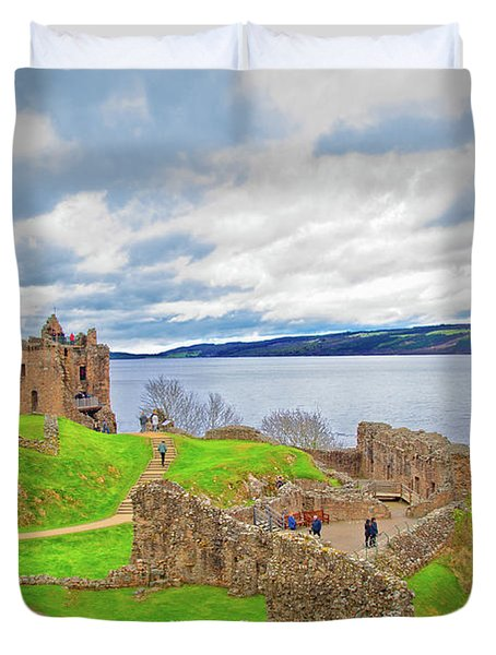 Loch Ness And Urquhart Castle In Scotland Duvet Cover
