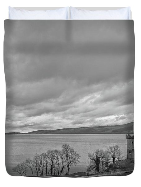 Loch Ness With Urquhart Castle In Scotland Duvet Cover