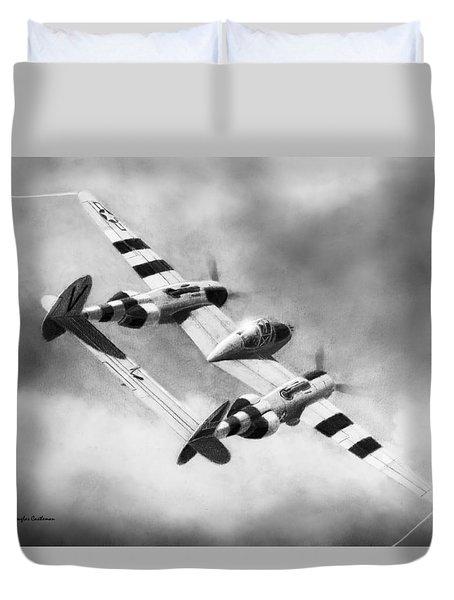 Lockheed P-38l Lightning Drawing Duvet Cover