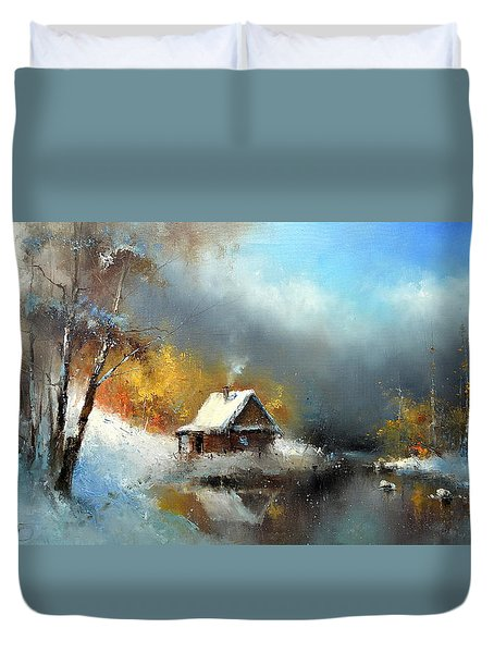 Lodge In The Winter Forest Duvet Cover