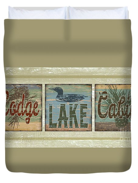 Duvet Cover featuring the painting Lodge Lake Cabin Sign by Joe Low