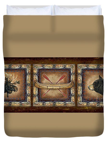 Duvet Cover featuring the painting Lodge Panel by Joe Low