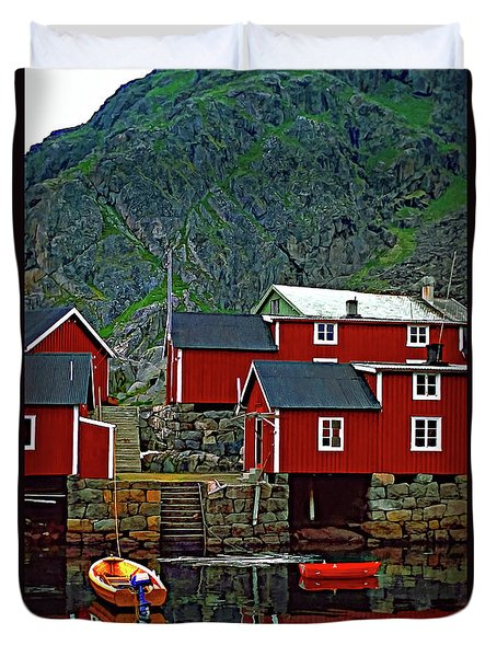Lofoten Fishing Huts Oil Duvet Cover by Steve Harrington