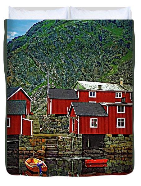 Lofoten Fishing Huts Duvet Cover by Steve Harrington