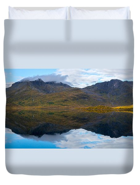 Duvet Cover featuring the photograph Lofoten Lake by James Billings