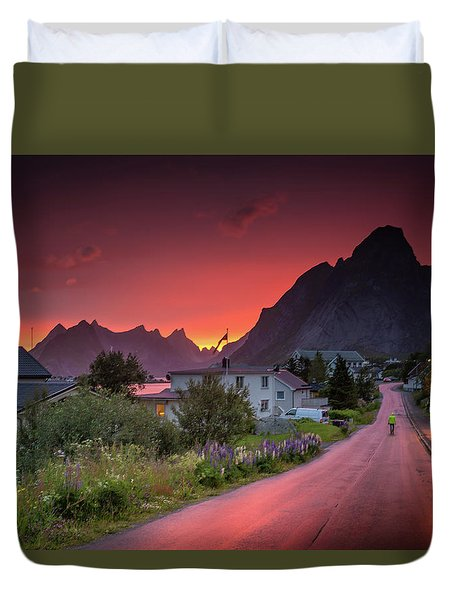 Lofoten Nightlife  Duvet Cover