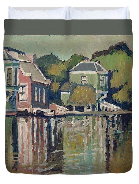 Lofts Along The River Zaan In Zaandam Duvet Cover by Nop Briex