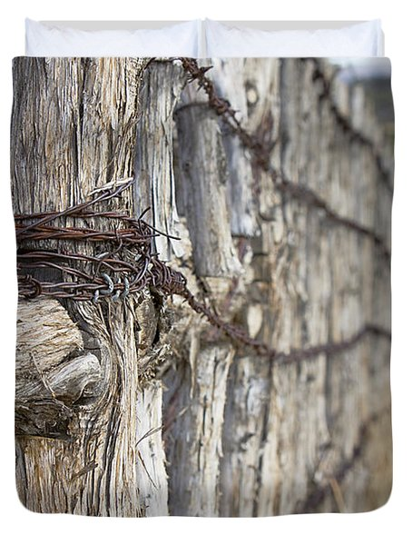 Log And Wire Fence Duvet Cover by Phyllis Denton