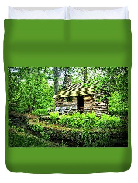 Log Cabin At Morris Arboretum Duvet Cover