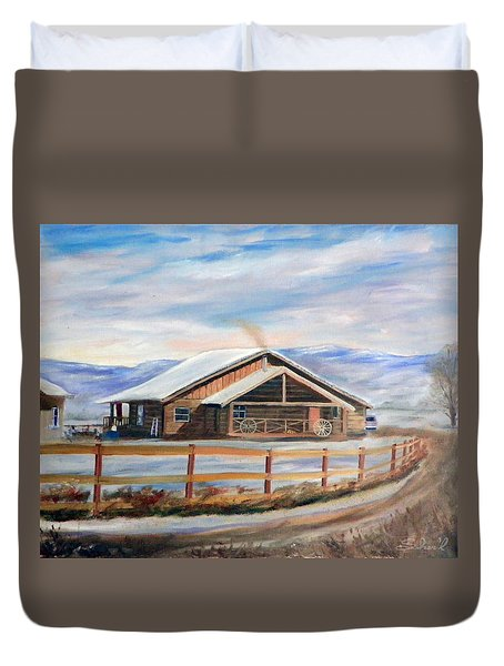 Log Cabin House In Winter Duvet Cover