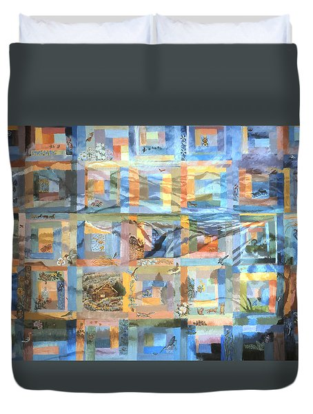 Duvet Cover featuring the painting Log Cabin Quilt by Dawn Senior-Trask